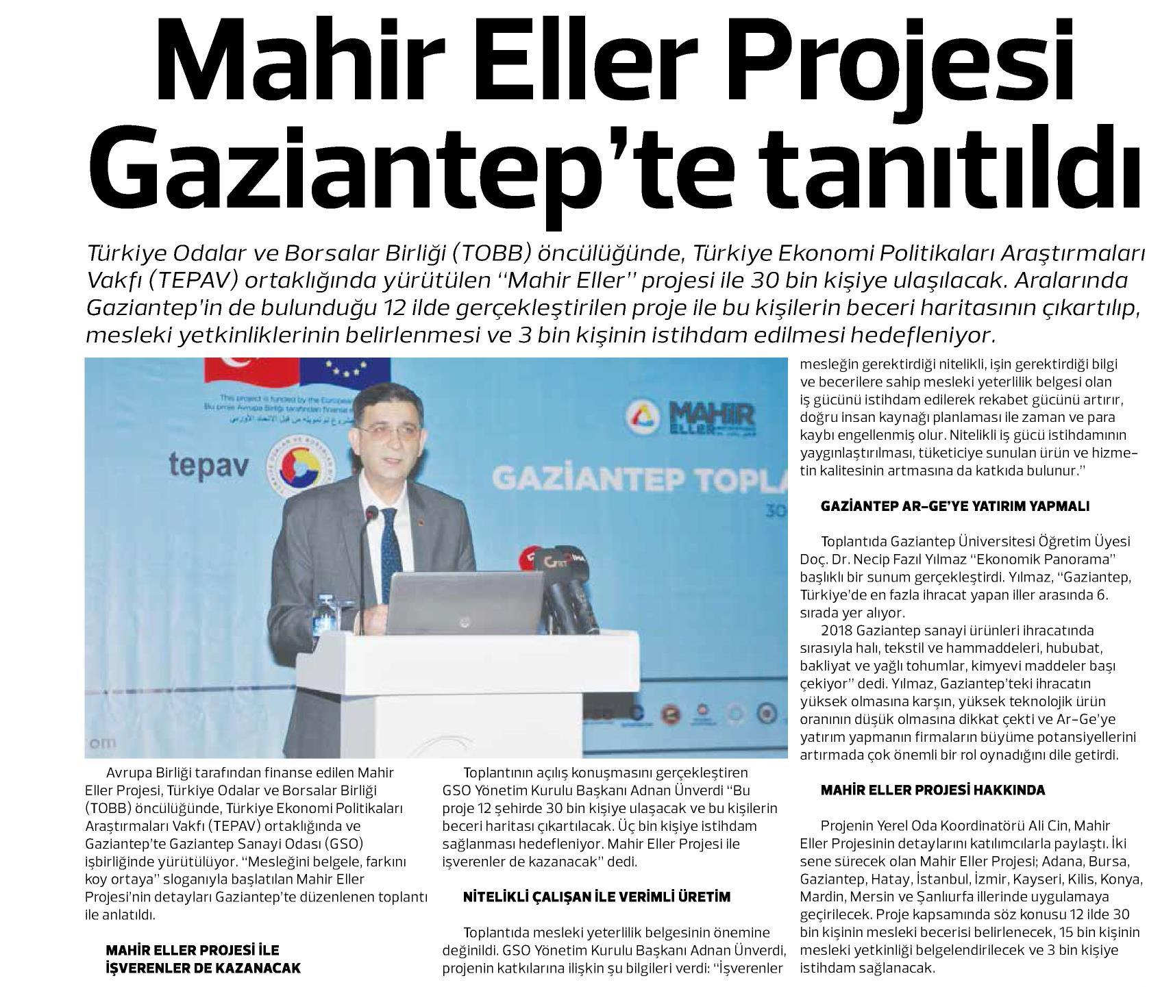 Mahir Eller Projesi Gaziantep