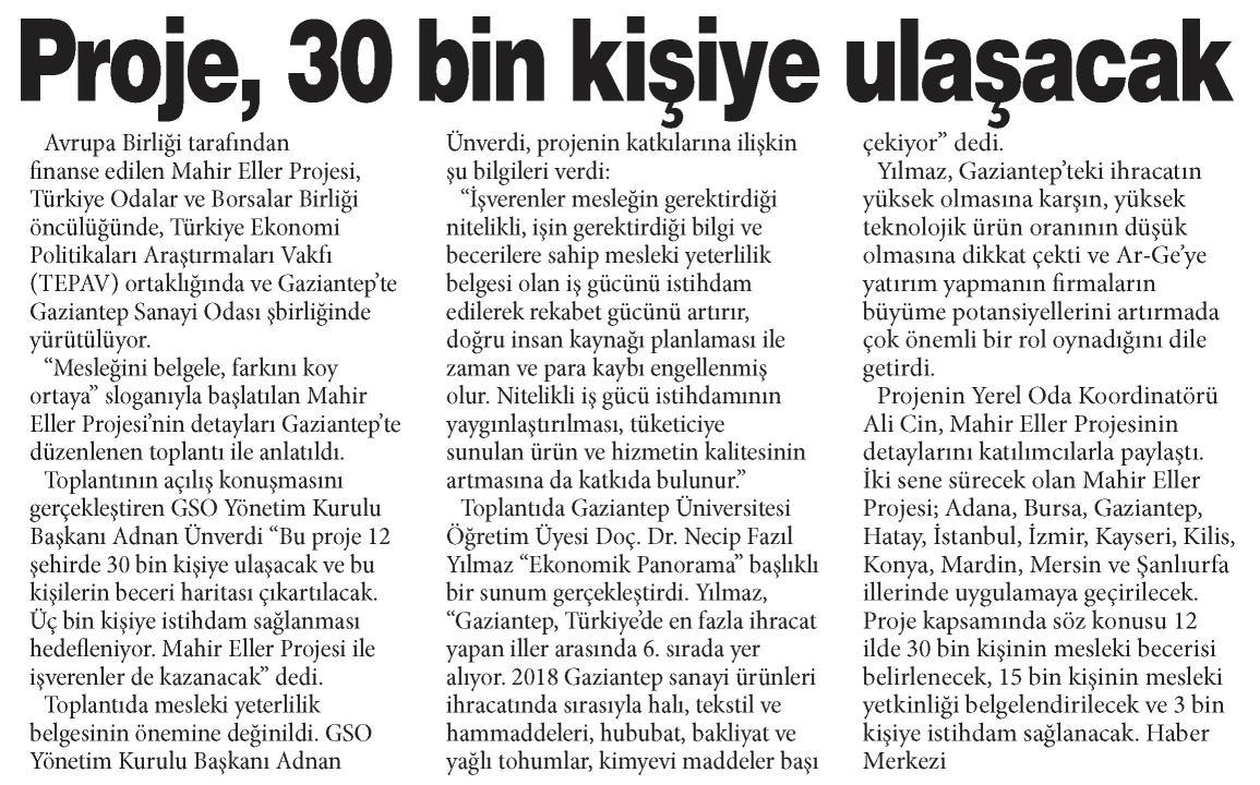 Proje 30 Bin Kişiye Ulaşacak Gaziantep Sabah