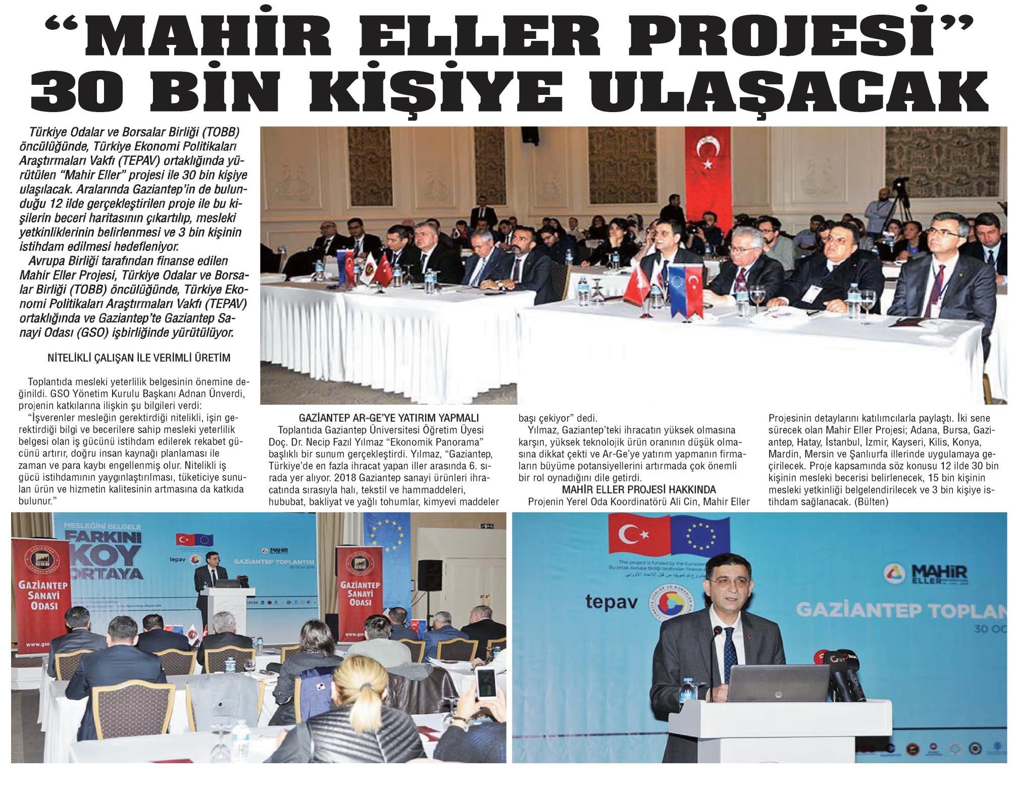 Mahir Eller Projesi 30 Bin Kişiye Ulaşacak Gaziantep