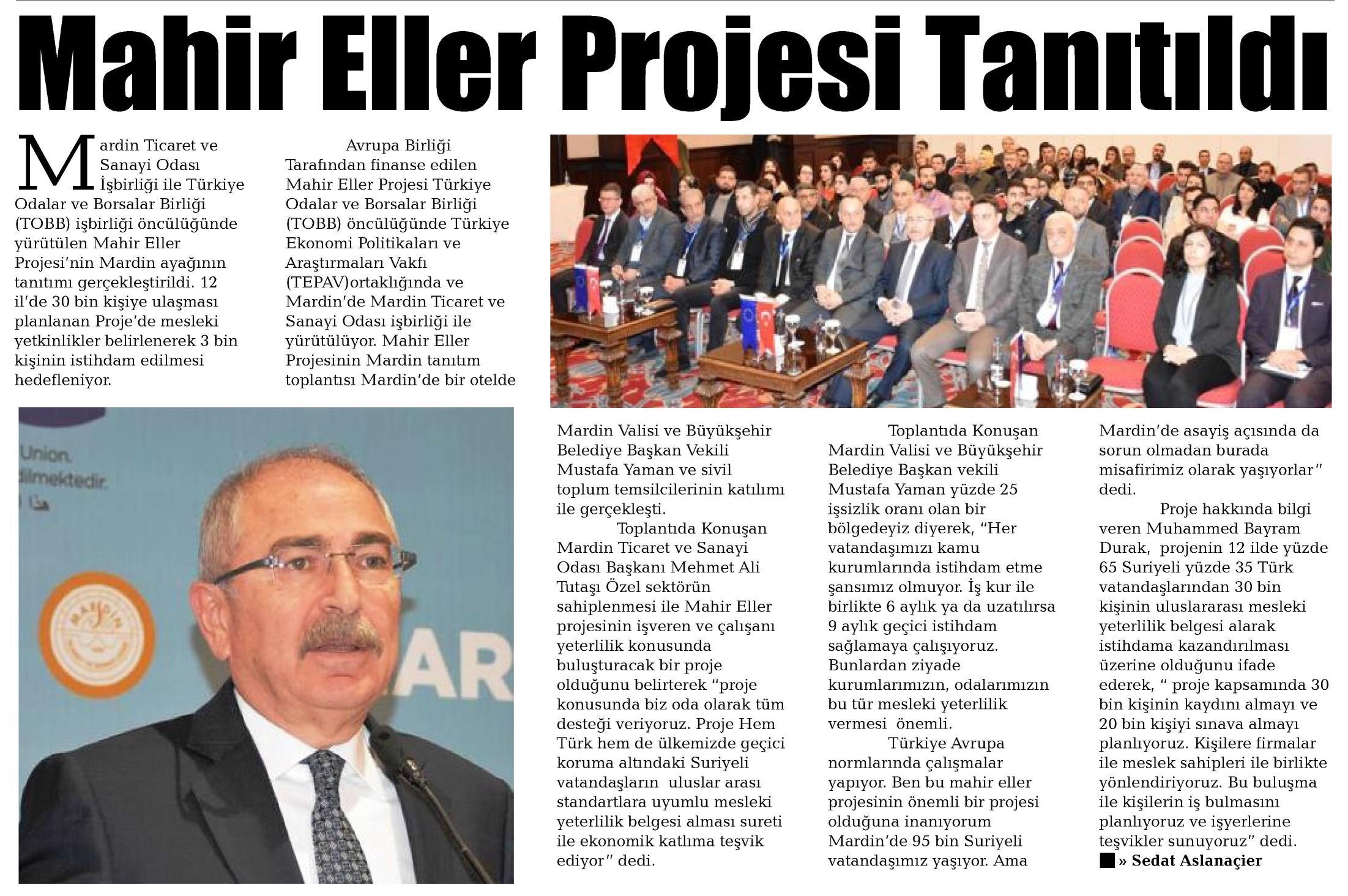 Mahir Eller Projesi Tanıtıldı Mardin İletişim