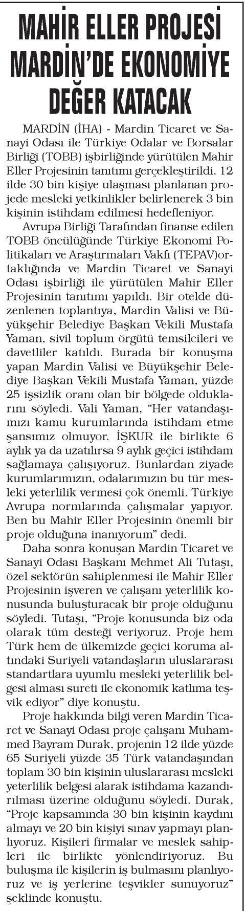 Mahir Eller Projesi Mardin