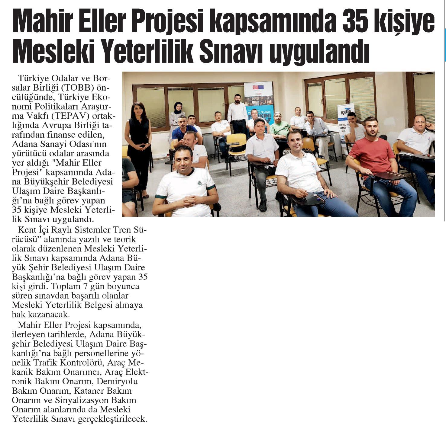 Mahir Eller Projesi Kapsamında 35 Kişiye Mesleki Yeterlilik Sınavı Uygulandı Adana Sanayi Odası