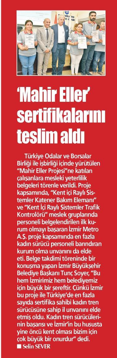 Mahir Eller Sertifikalarını Teslim Aldı Yeni Gün İzmir