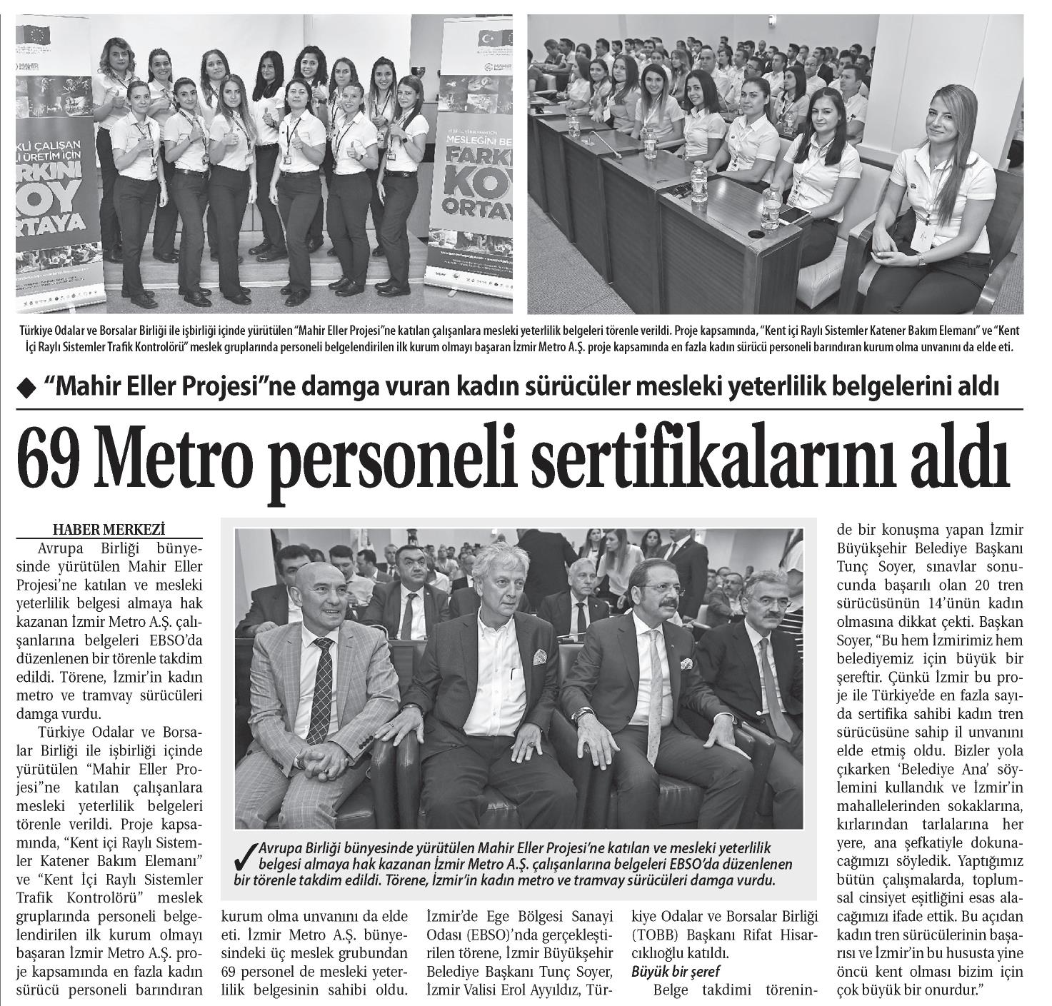 69 Metro Personeli Sertifikalarını Aldı Ticaret