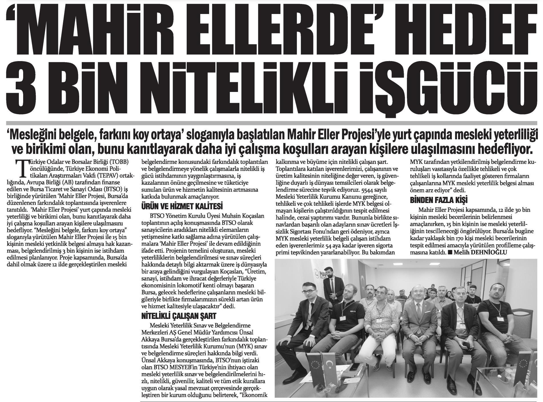 Mahir Ellerde Hedef 3 Bin Nitelikli İşgücü Gazete Bursa