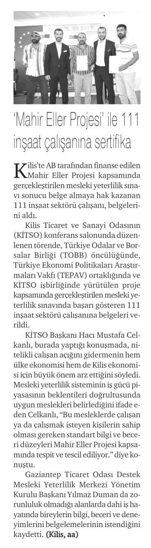 Mahir Eller Projesi ile 111 İnşaat Çalışanına Sertifika Hürses [İstanbul]