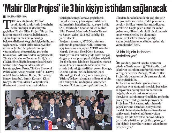 Mahir Eller Projesi ile 3 Bin Kişiye İstihdam Sağlanacak Gaziantep Hakimiyet