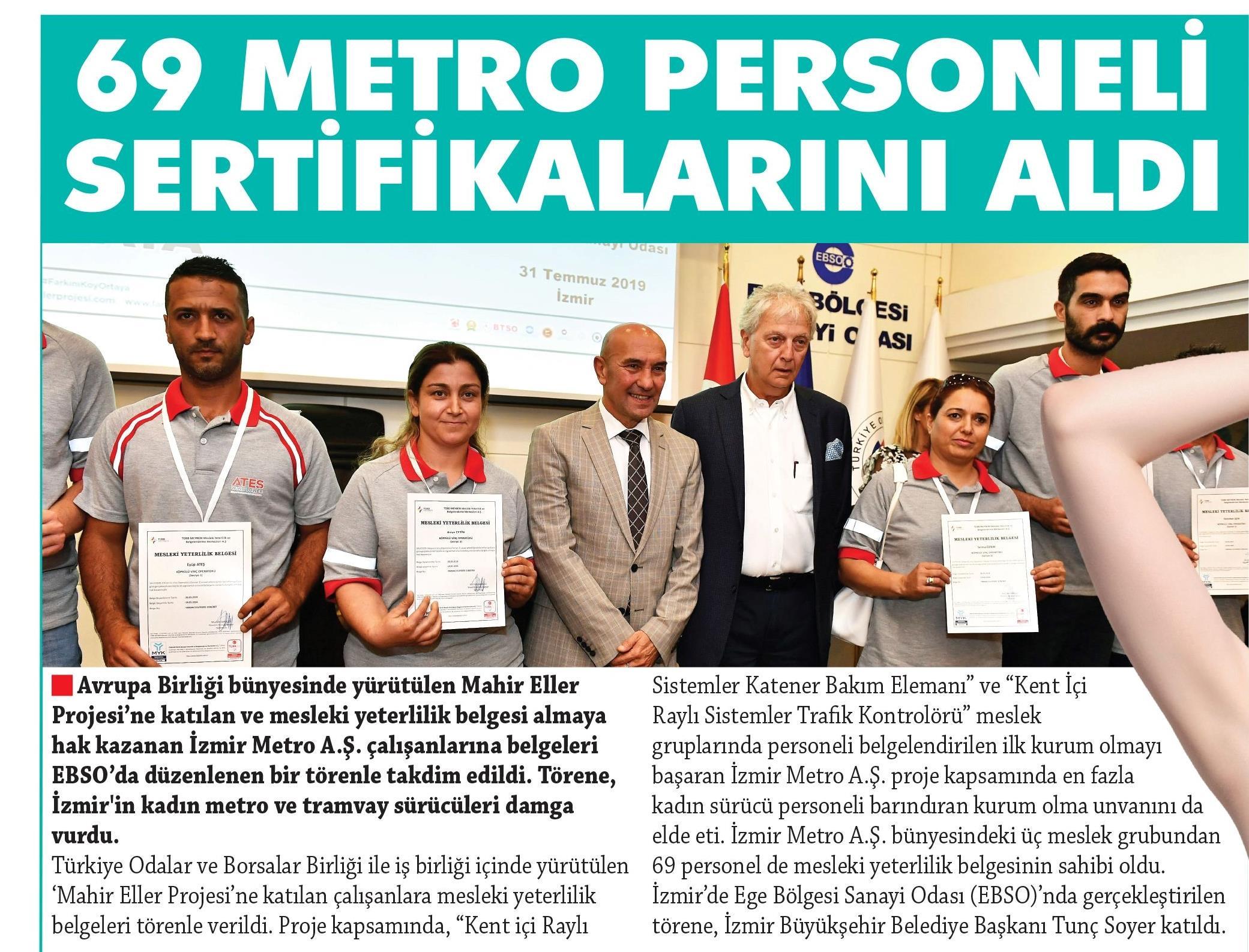 69 Metro Personeli Sertifikalarını Aldı Egemetro