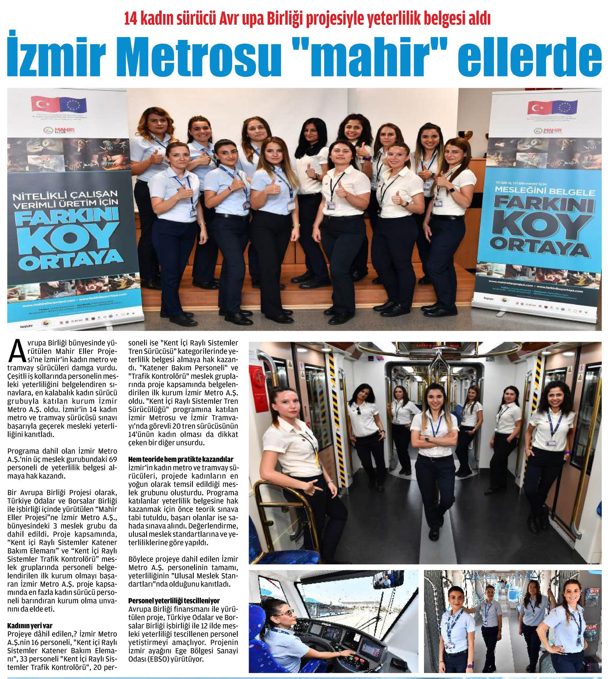 "İzmir Metrosu ""Mahir"" Ellerde Günaydın Ege"