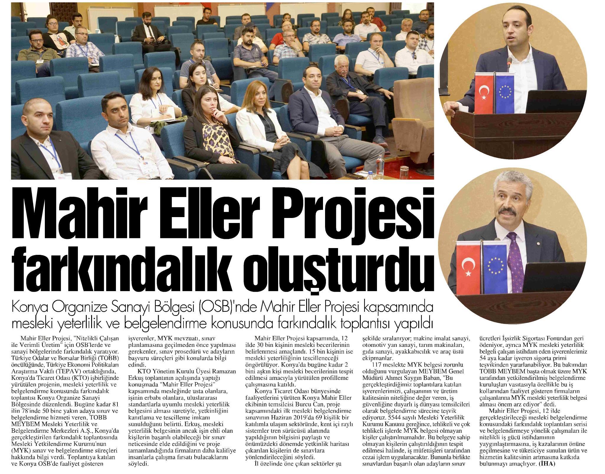 Mahir Eller Projesi Farkındalık Oluşturdu Konya Postası