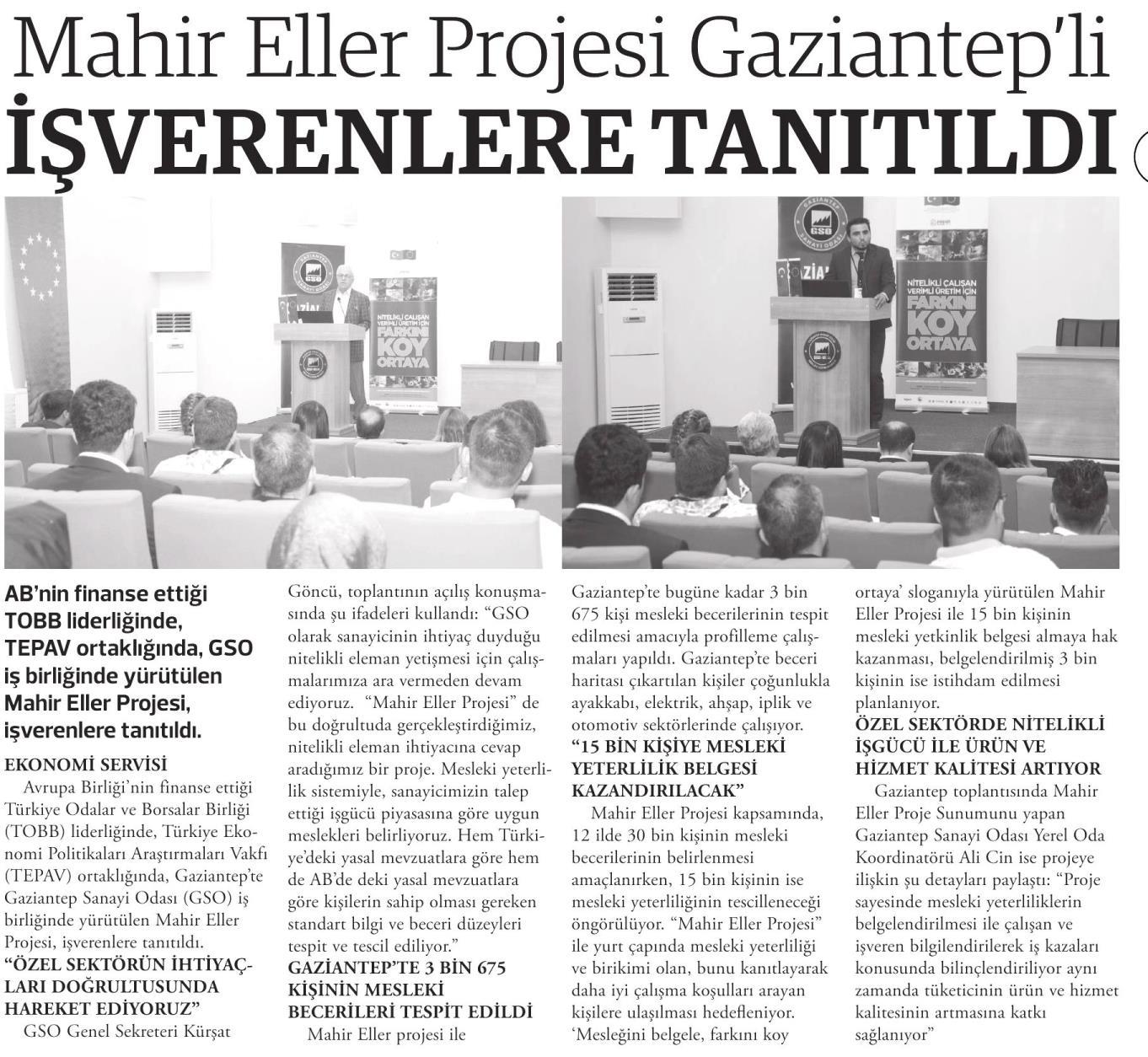 Mahir Eller Projesi Gaziantepli İşverenlere Tanıtıldı Doğru Haber [İstanbul]
