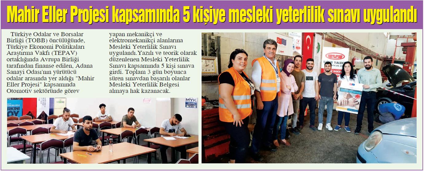 Mahir Eller Projesi Kapsamında 5 Kişiye Mesleki Yeterlilik Sınavı Uygulandı Adana Sanayi Odası Gazetesi