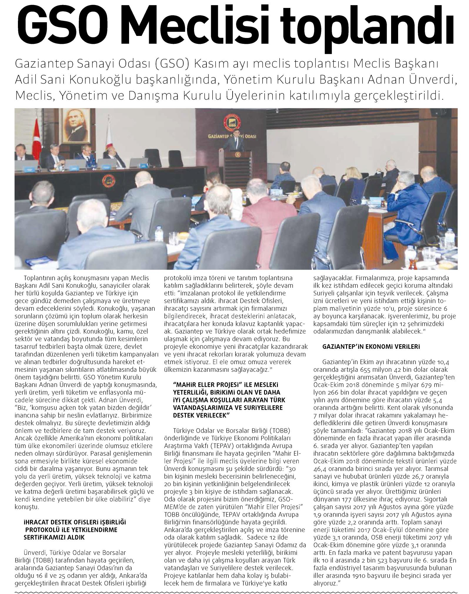 GSO Meclisi Toplantı Gaziantep GAP