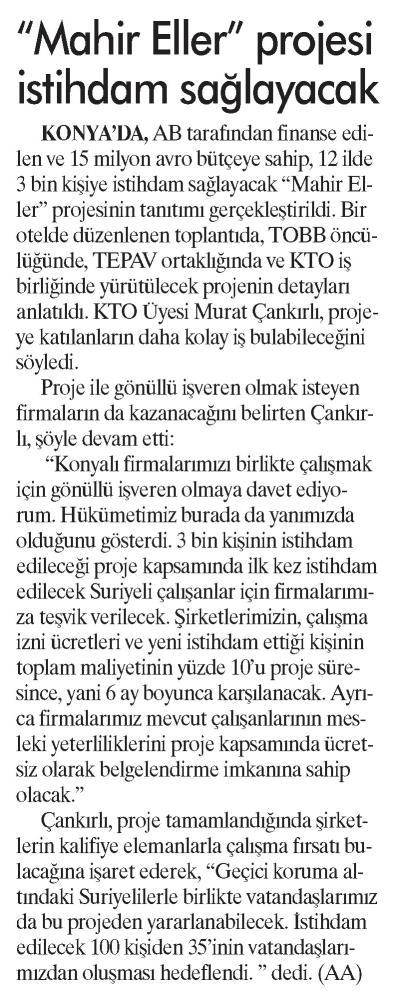 Mahir Eller Projesi İstihdam Sağlayacak Günboyu [İstanbul]