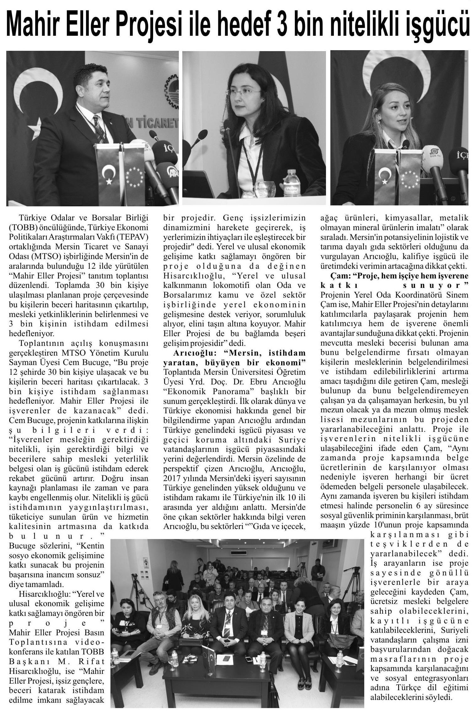 Mahir Eller Projesi ile Hedef 3 Bin Nitelikli İşgücü İstikbal