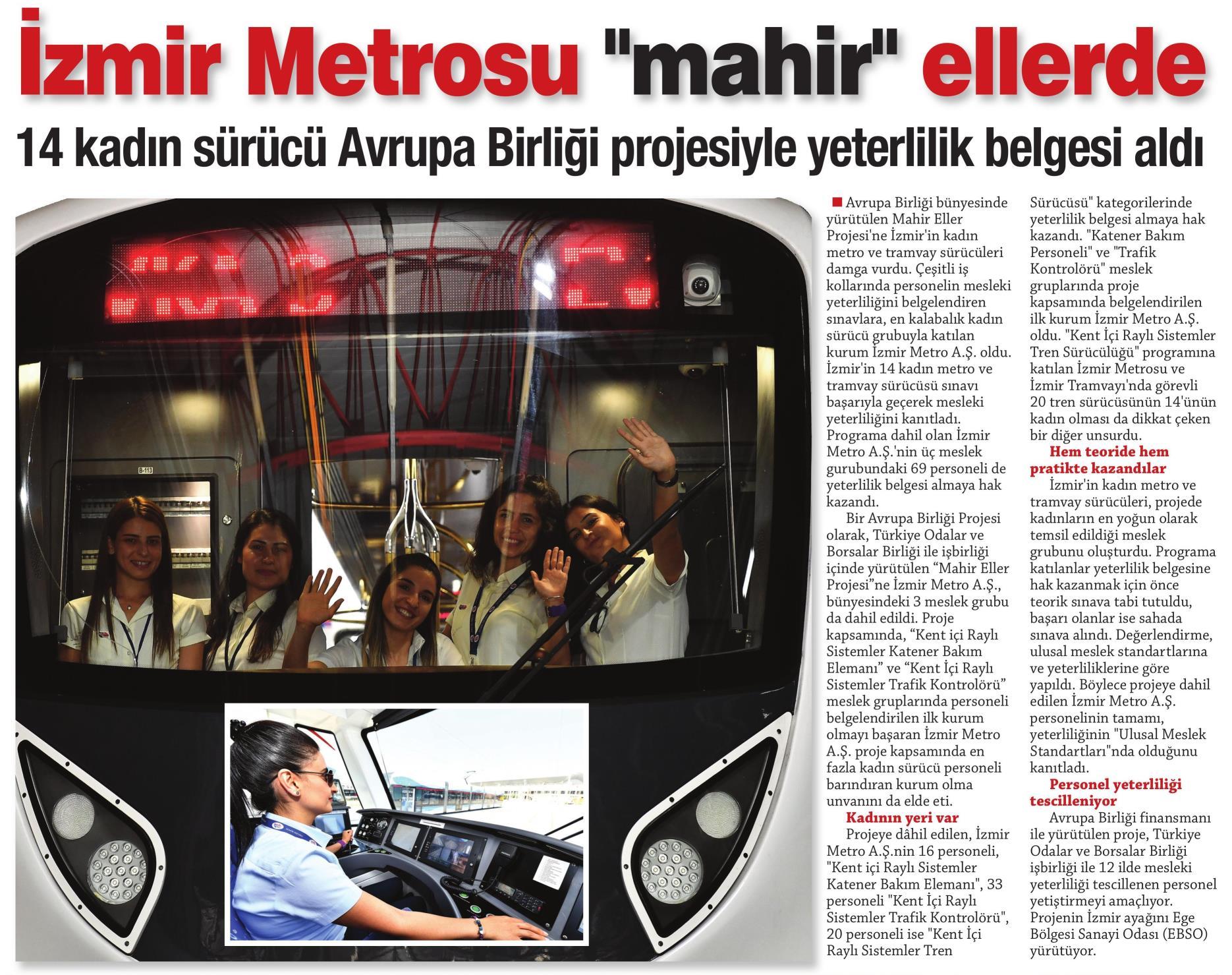 İzmir Metrosu Mahir Ellerde Egemetro
