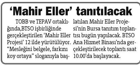 Mahir Eller Tanıtılacak Bursa