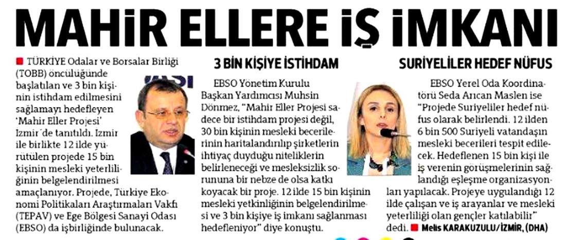 Mahir Ellere İş İmkanı Hürriyet İzmir Ege