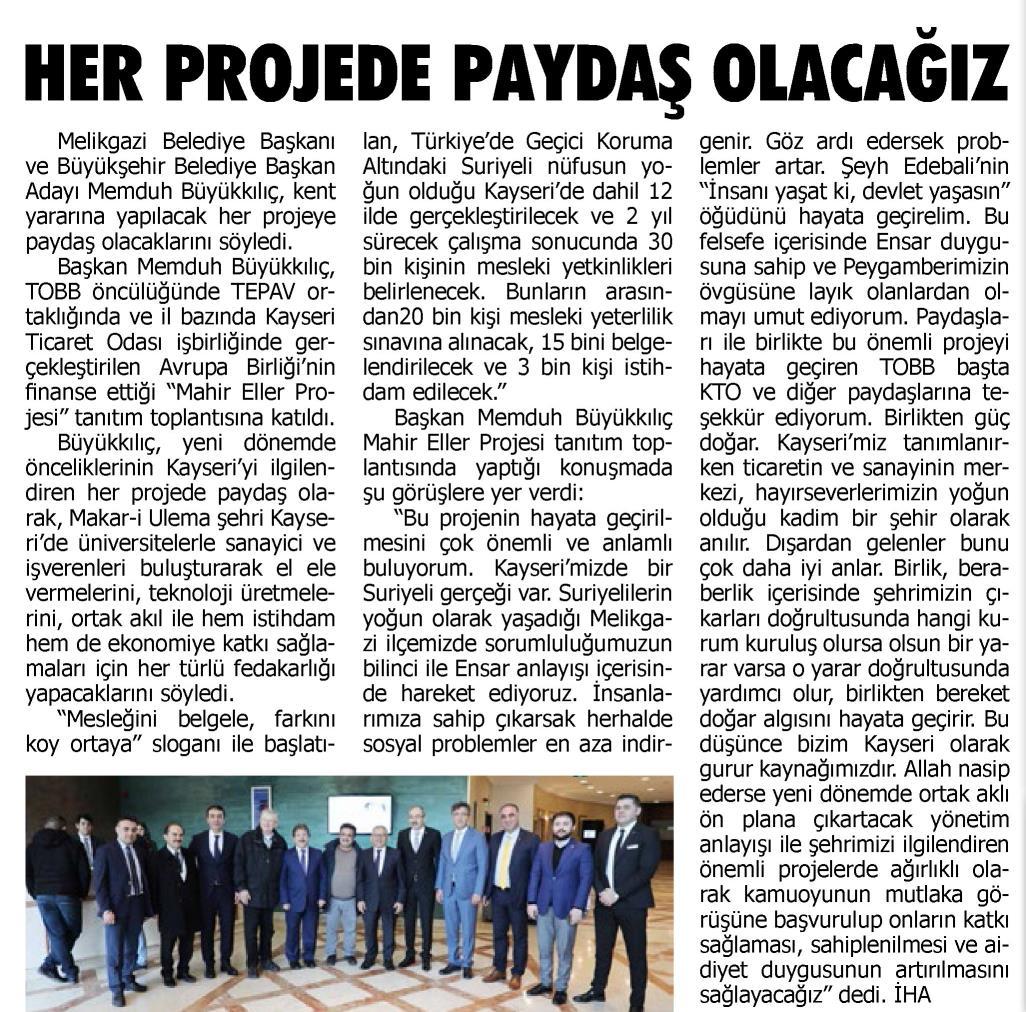 Her Projede Paydaş Olacağız Kayseri E Haber