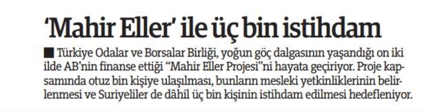 Mahir Eller ile 3 Bin İstihdam   Türkiye