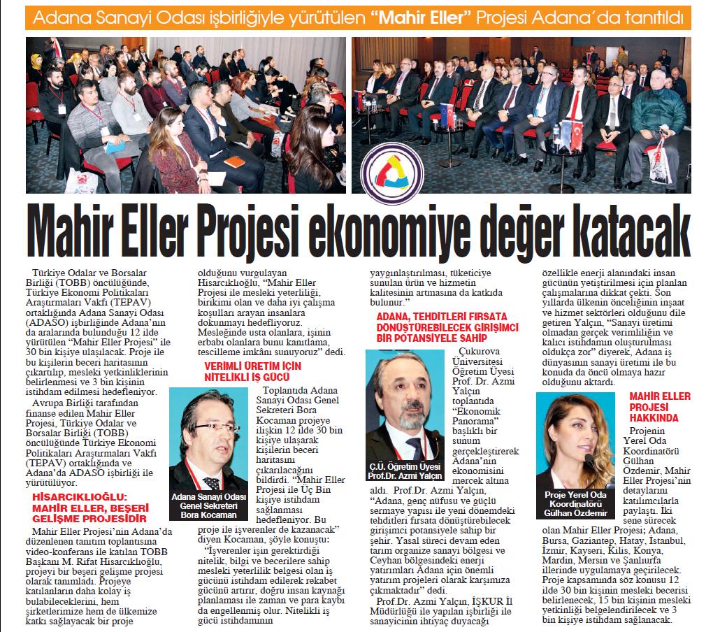 Mahir Eller Projesi Ekonomiye Değer Katacak Adana Sanayi Odası Gazetesi