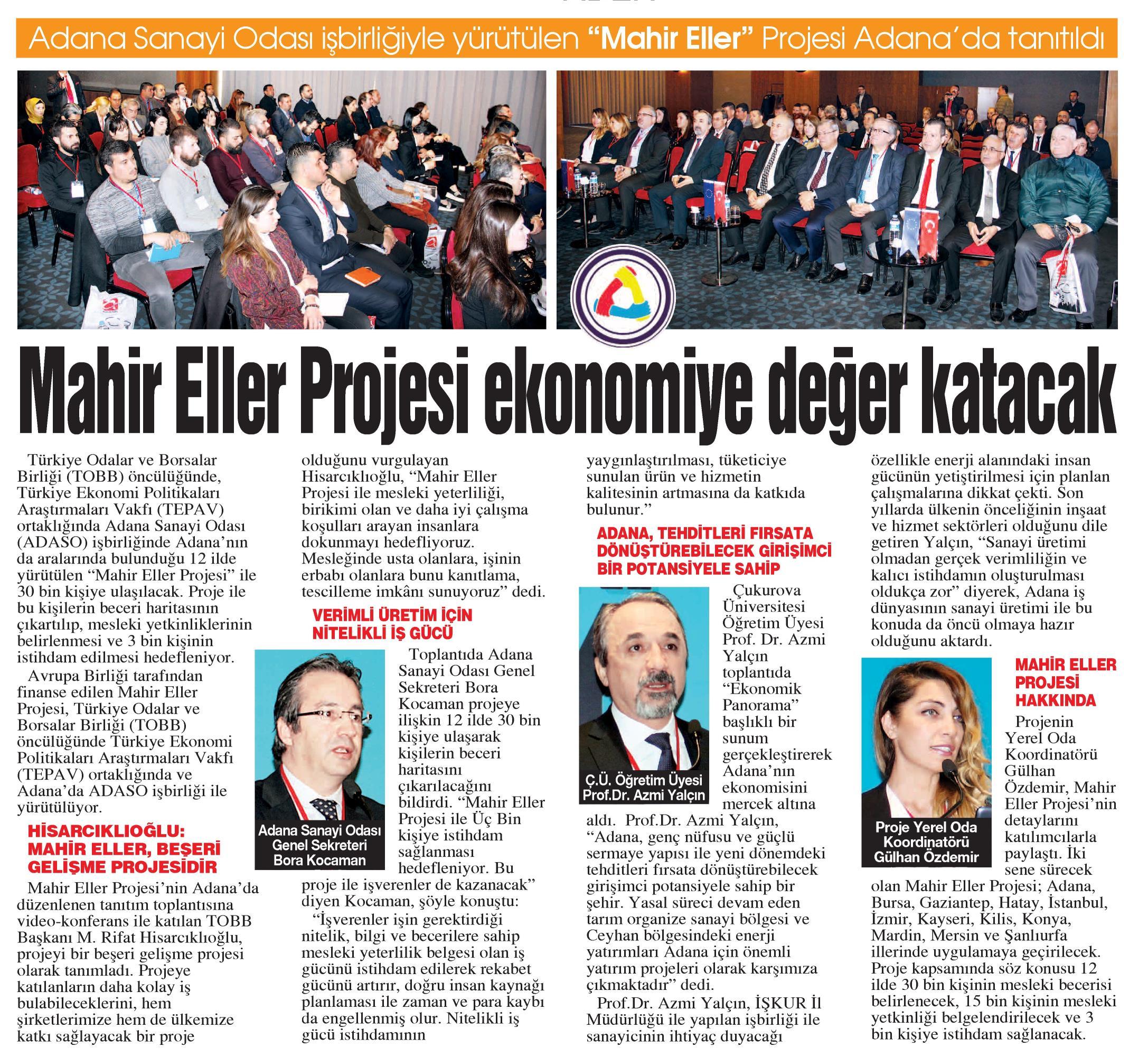 Mahir Eller Projesi Ekonomiye Değer Katacak Adana Sanayi Odası