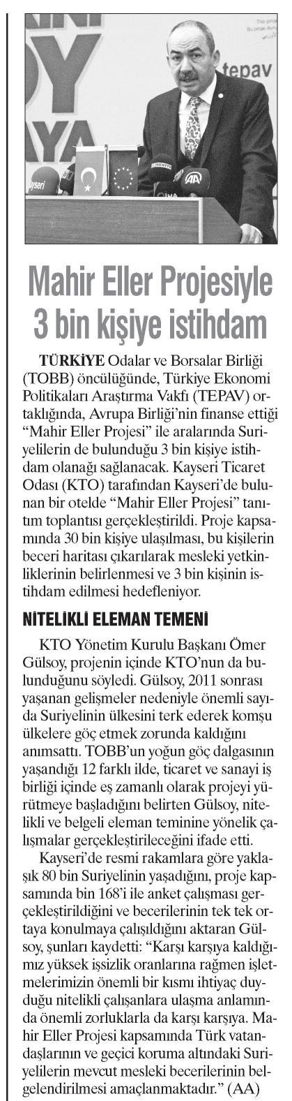 Mahir Eller Projesiyle 3 Bin Kişiye İstihdam Dokuz Sütun [İstanbul]