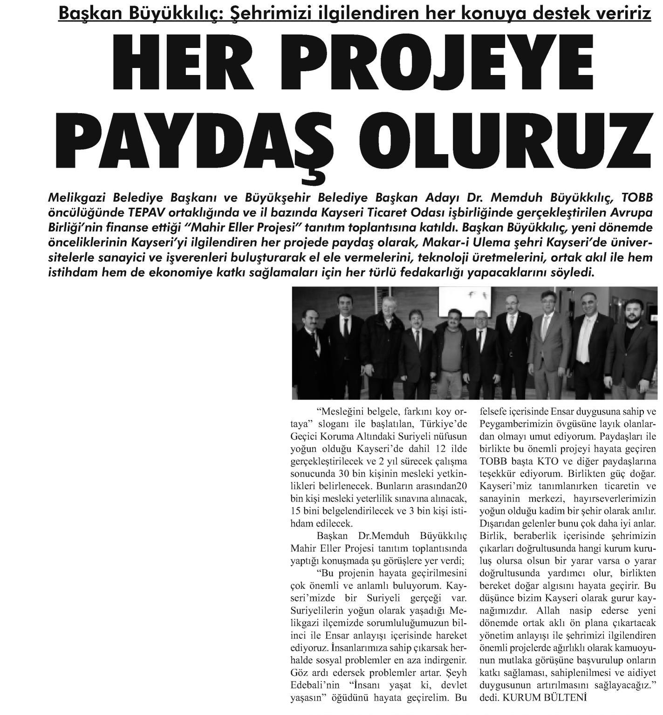 Her Projede Paydaş Oluruz Kayseri Haber