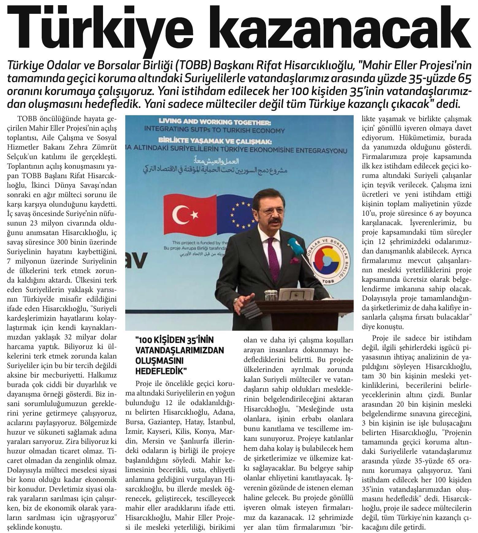 Türkiye kazanacak. Ankara Gazetesi