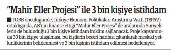 Mahir Eller Projesi ile 3 Bin Kişiye İstihdam   Türkiye