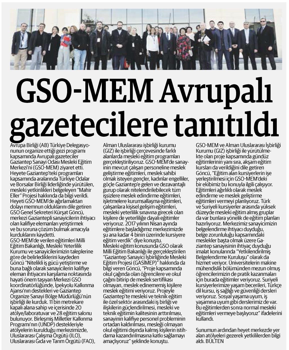 GSO-MEM Avrupalı gazetecilere tanıtıldı. Referans