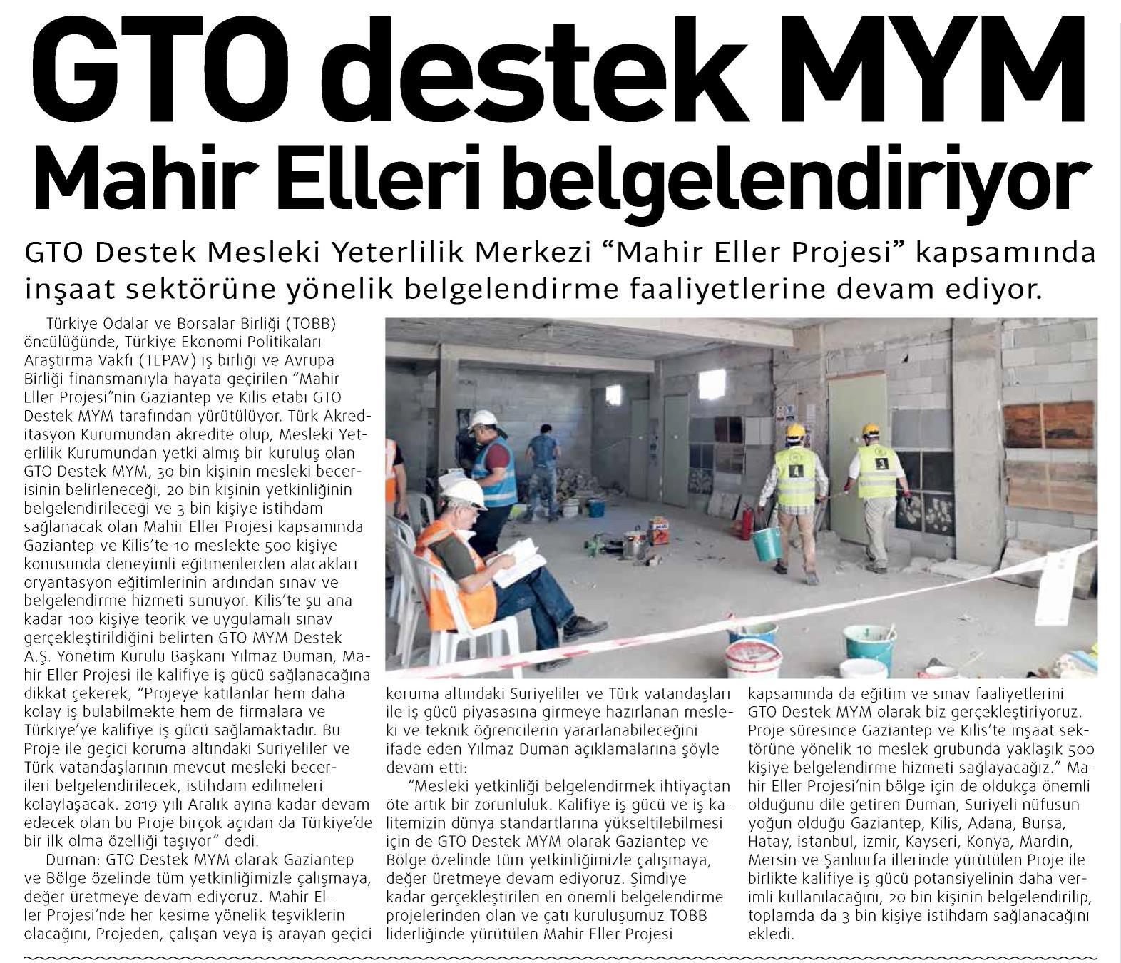 GTO Destek MYM Mahir Elleri Belgelendiriyor Gaziantep GAP