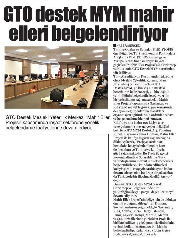 GTO Destek MYM Mahir Elleri Belgelendiriyor Gaziantep Hakimiyet