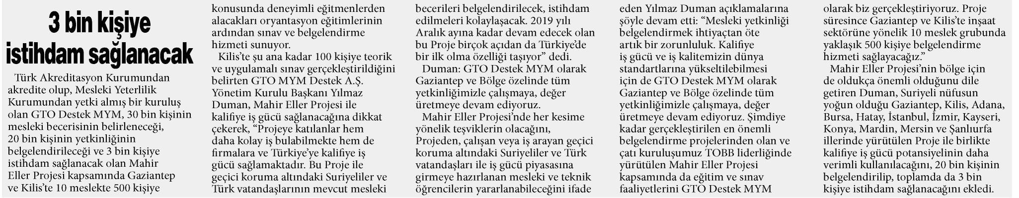3 Bin Kişiye İstihdam Sağlanacak Gaziantep Sabah