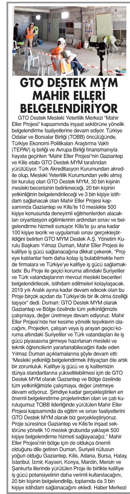 GTO Destek MYM Mahir Elleri Belgelendiriyor Metropol