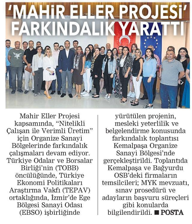 Mahir Eller Projesi Farkındalık Yarattı Posta İzmir Ege